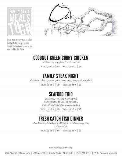 Family Style Meals To-Go | Water Oak Grill of Safety Harbor, FL